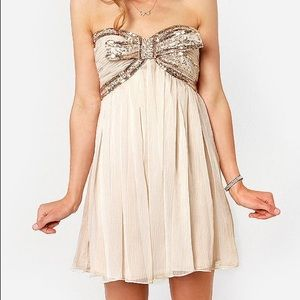 Lulu's Sequin Bow Tulle Formal Mini Dress